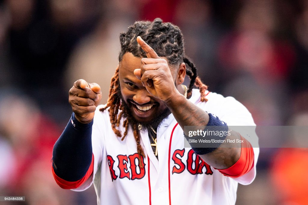 Hanley Ramirez #13 of the Boston Red Sox celebrates a victory against the Tampa Bay Rays on April 8, 2018 at Fenway Park in Boston, Massachusetts.