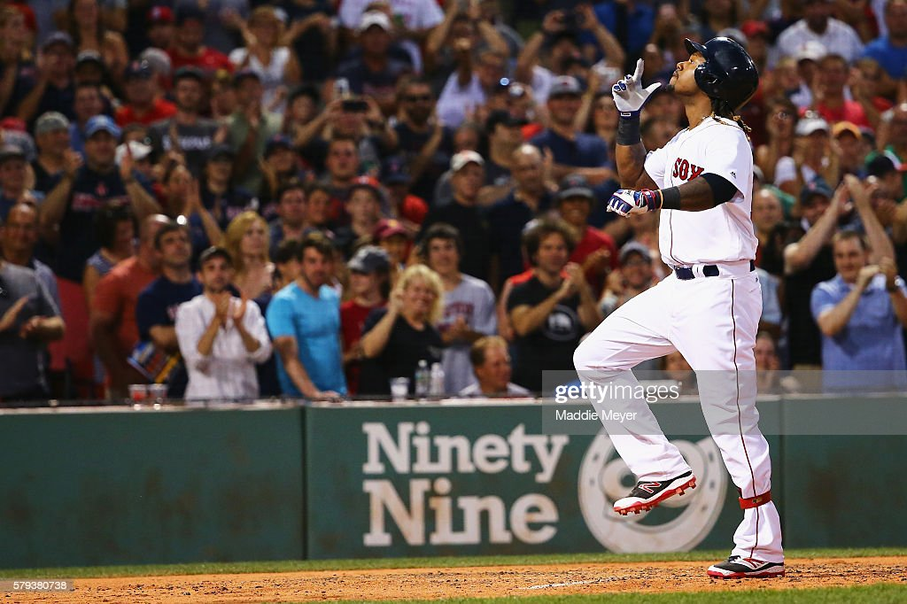 Hanley Ramirez #13 of the Boston Red Sox celebrates after hitting a three-run home run during the second inning against the Minnesota Twins at Fenway Park on July 23, 2016 in Boston, Massachusetts.