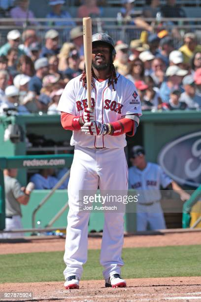 Hanley Ramirez of the Boston Red Sox comes to bat against the New York Yankees during a spring training game at JetBlue Park on March 3 2018 in Fort...