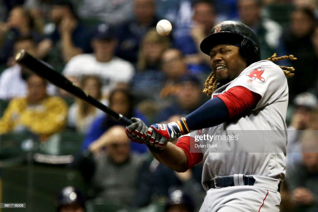 Hanley Ramirez #13 of the Boston Red Sox fouls off a pitch in the third inning against the Milwaukee Brewers at Miller Park on May 10, 2017 in Milwaukee, Wisconsin.