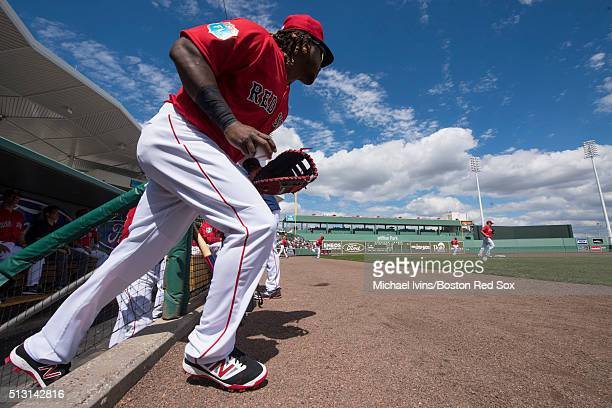 Hanley Ramirez of the Boston Red Sox heads to first base at the start of an exhibition game against the Boston College Eagles on February 29 2016 at...