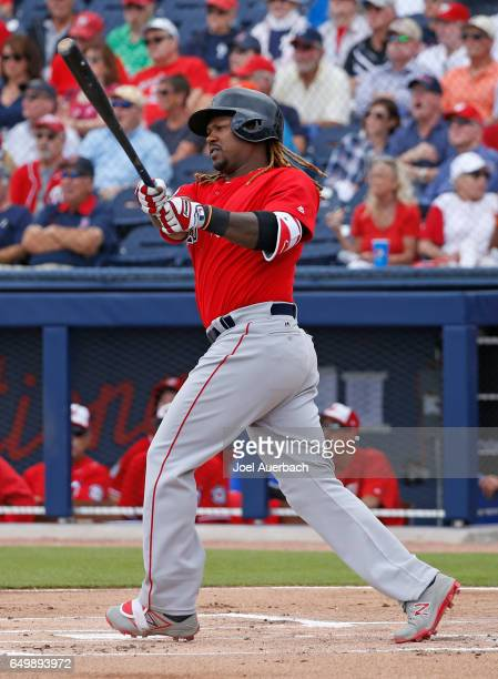 Hanley Ramirez of the Boston Red Sox hits a home run against the Washington Nationals in the first inning during a spring training game at The...