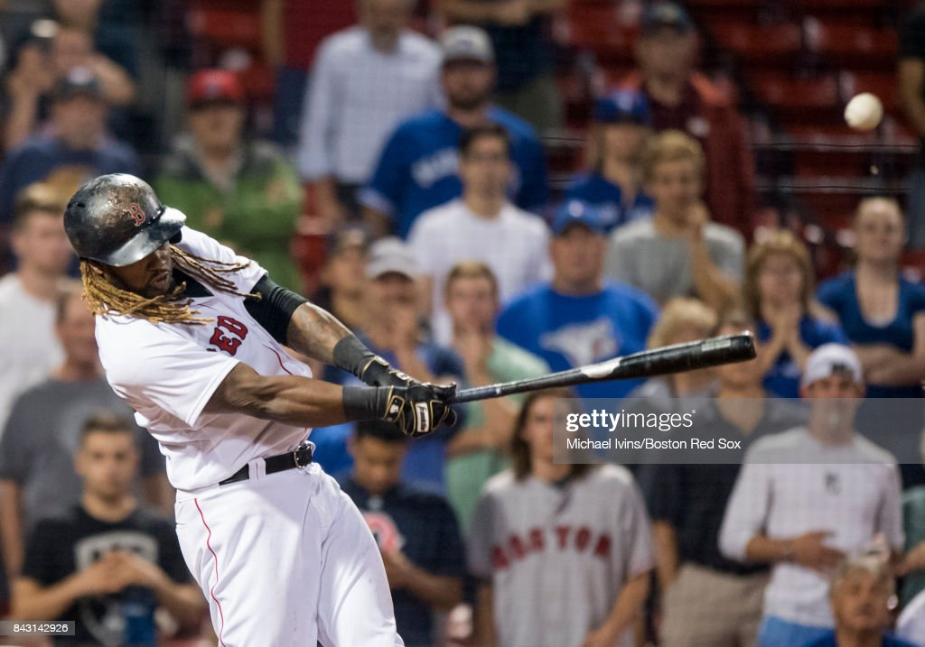 Hanley Ramirez #13 of the Boston Red Sox hits a walk-off single against the Toronto Blue Jays in the nineteenth inning at Fenway Park on September 5, 2017 in Boston, Massachusetts.