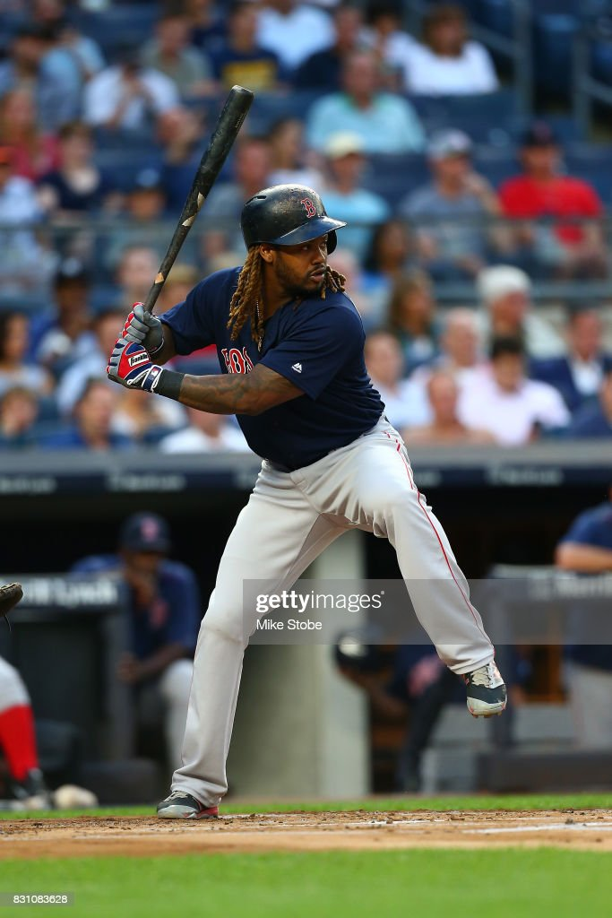 Hanley Ramirez #13 of the Boston Red Sox in action against the New York Yankees at Yankee Stadium on August 11, 2017 in the Bronx borough of New York City. New York Yankees defeated the Boston Red Sox 5-4.