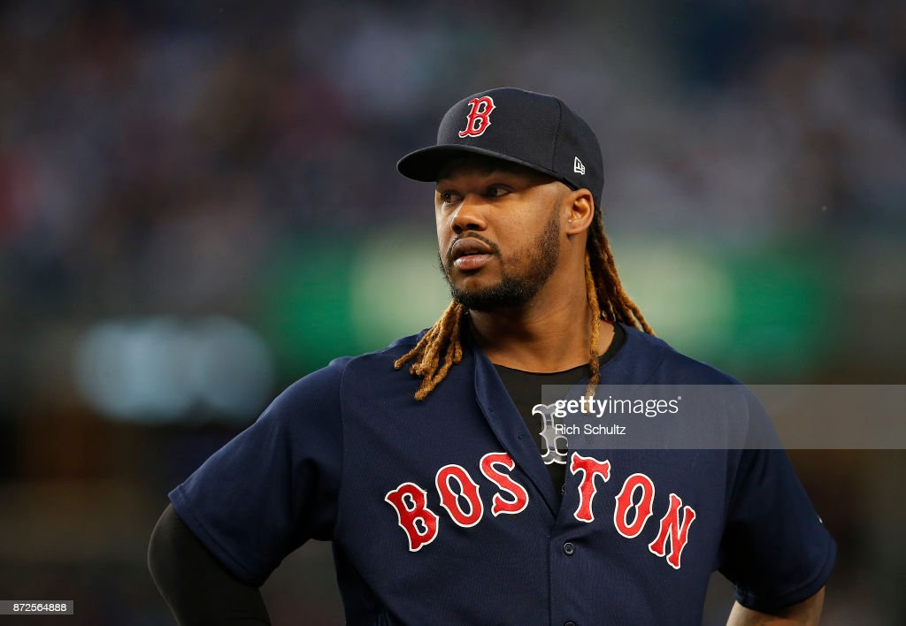 Hanley Ramirez #13 of the Boston Red Sox in action against the New York Yankees during a game at Yankee Stadium on August 31, 2017 in the Bronx borough of New York City. The Yankees defeated the Red Sox 6-2.