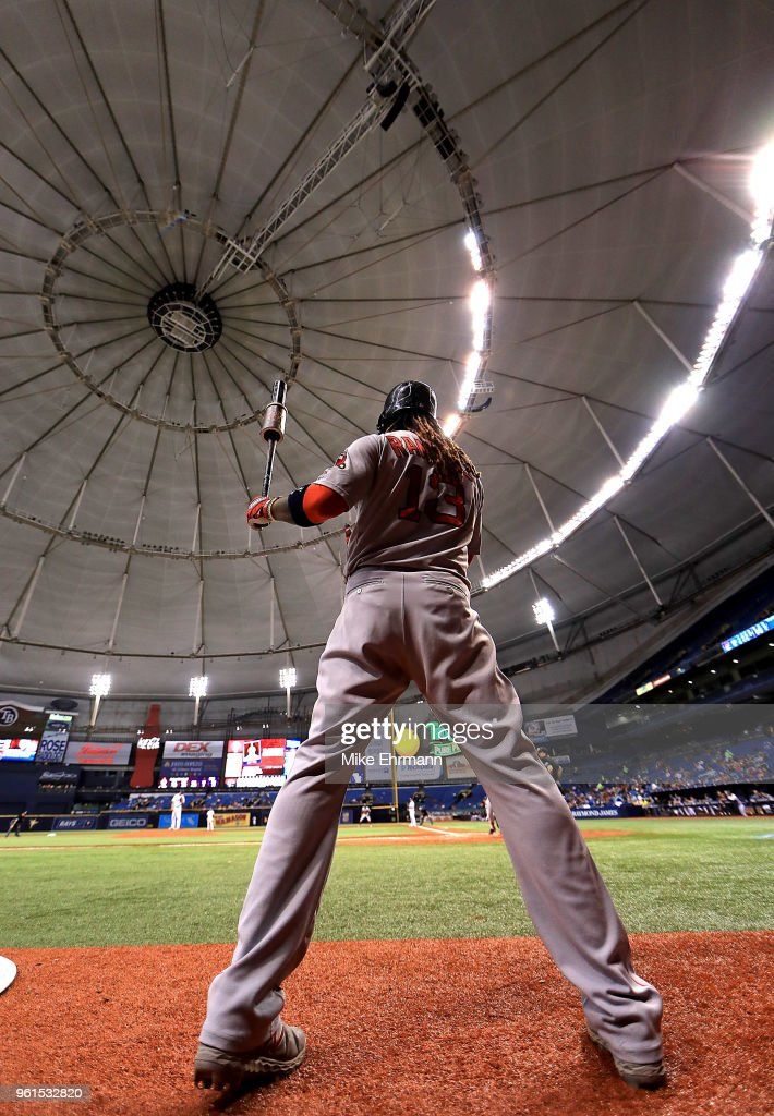Hanley Ramirez #13 of the Boston Red Sox looks on during a game against the Tampa Bay Rays at Tropicana Field on May 22, 2018 in St Petersburg, Florida.