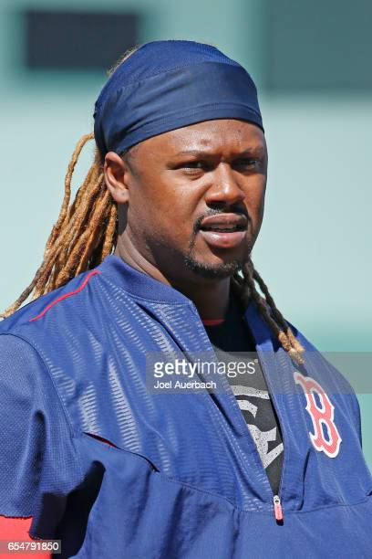 Hanley Ramirez of the Boston Red Sox prepares for batting practice prior to the spring training game against the Pittsburgh Pirates at JetBlue Park...