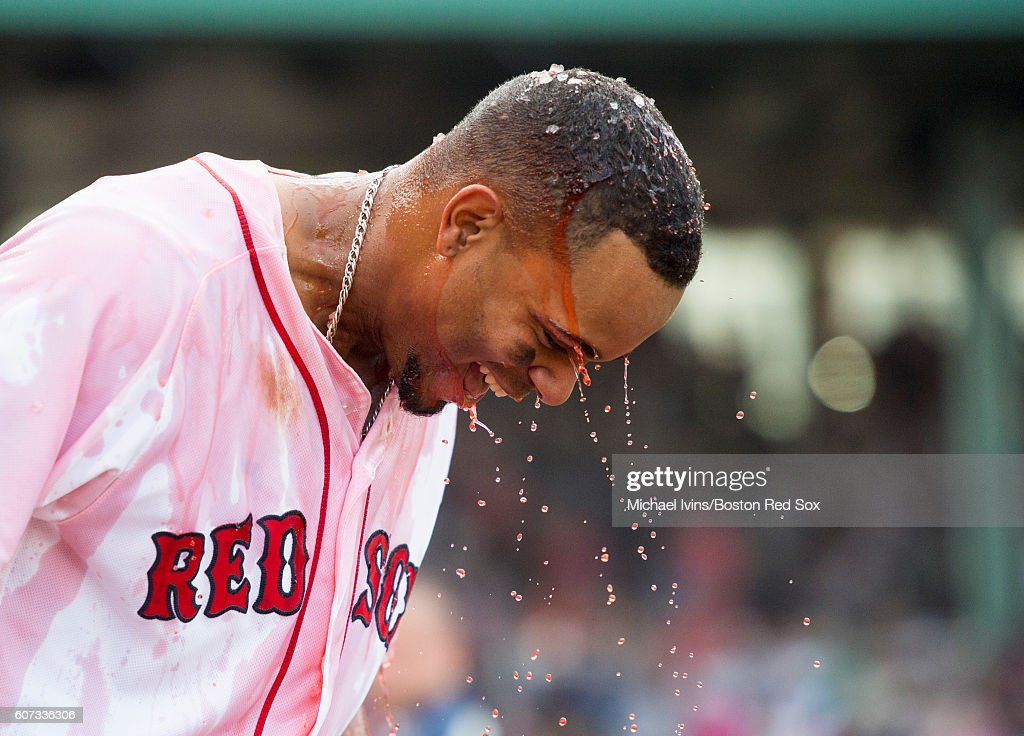 Hanley Ramirez #2 of the Boston Red Sox reacts after being doused with Powerade after leading the Red Sox to a 6-5 win over the New York Yankees on September 17, 2016 at Fenway Park in Boston, Massachusetts.