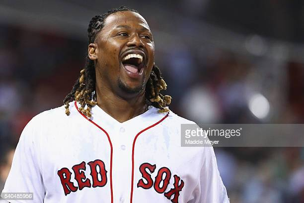 Hanley Ramirez of the Boston Red Sox reacts after David Ortiz dunked him with Powerade after defeating the Baltimore Orioles 64 at Fenway Park on...