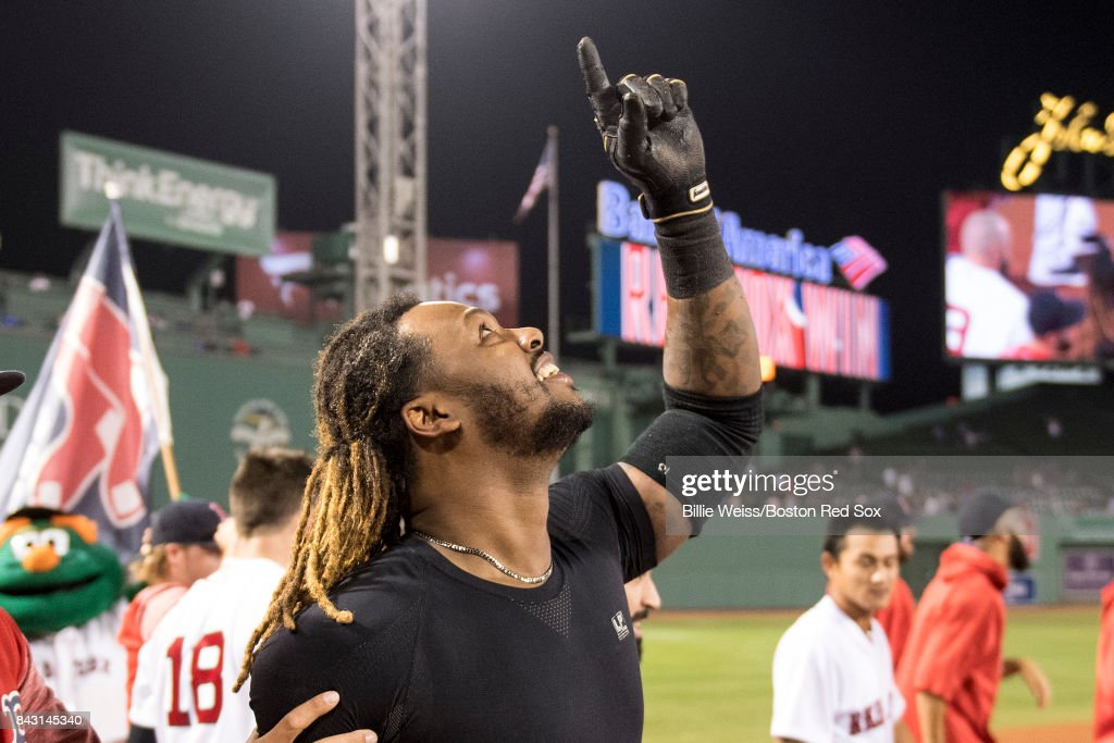 Hanley Ramirez #13 of the Boston Red Sox reacts after hitting a game winning walk-off single during the nineteenth inning of a game against the Toronto Blue Jays on September 5, 2017 at Fenway Park in Boston, Massachusetts.