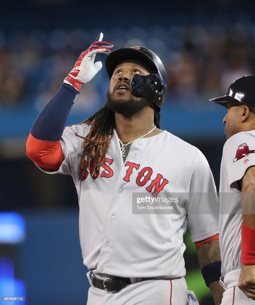 Hanley Ramirez #13 of the Boston Red Sox reacts after hitting a single in the fifth inning during MLB game action against the Toronto Blue Jays at Rogers Centre on April 26, 2018 in Toronto, Canada.