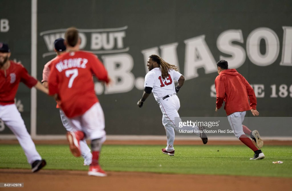 Hanley Ramirez #13 of the Boston Red Sox reacts after hitting a walk-off single against the Toronto Blue Jays in the nineteenth inning at Fenway Park on September 5, 2017 in Boston, Massachusetts.