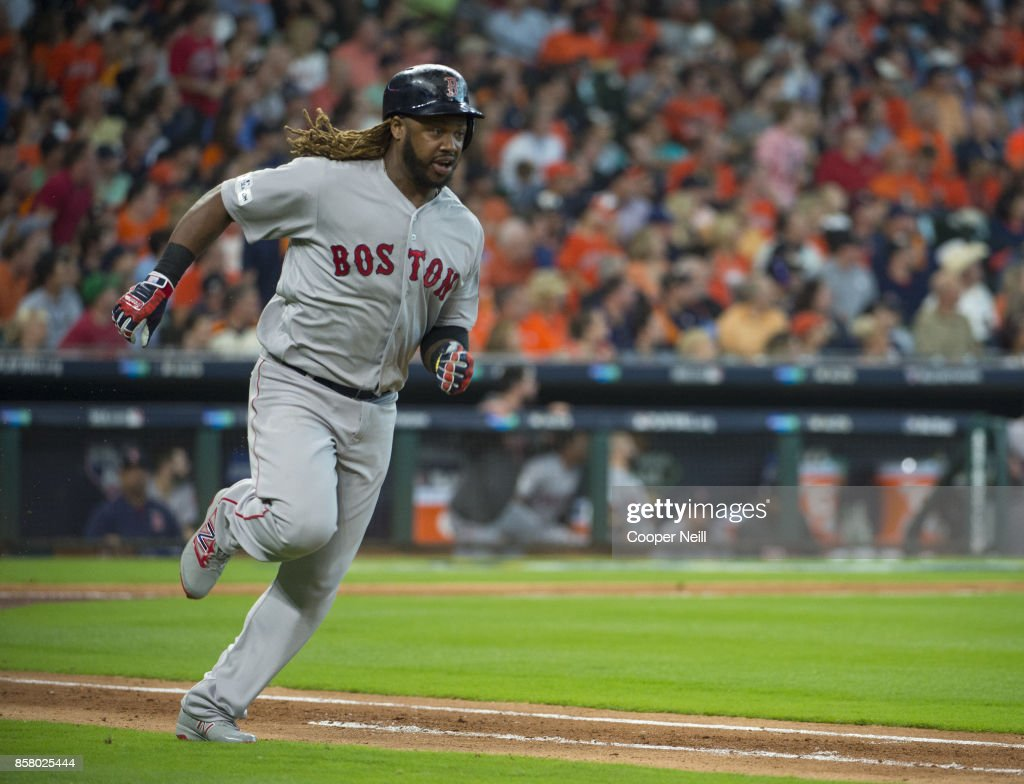 Hanley Ramirez #13 of the Boston Red Sox rounds the bases after hitting a double in the top of the third inning of Game 1 of the American League Division Series against the Houston Astros at Minute Maid Park on Thursday, October 5, 2017 in Houston Texas.