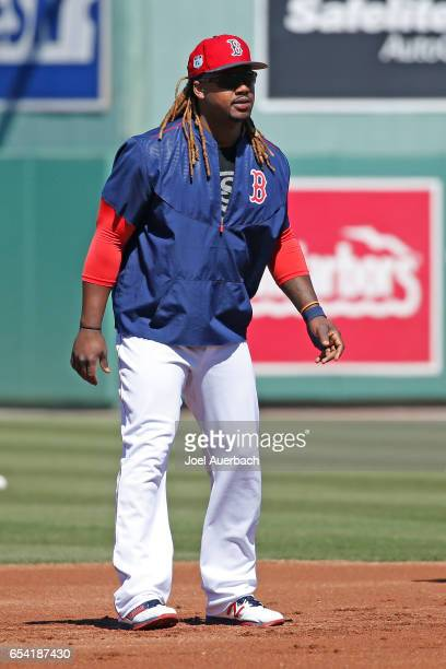 Hanley Ramirez of the Boston Red Sox runs the base path prior to the spring training game against the Pittsburgh Pirates at JetBlue Park on March 16...