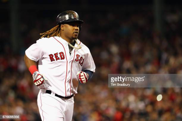 Hanley Ramirez of the Boston Red Sox runs the bases after hitting a solo home run during the sixth inning against the Baltimore Orioles at Fenway...