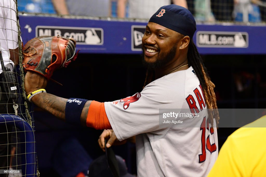Hanley Ramirez #13 of the Boston Red Sox smiles after beating the Tampa Bay Rays 4-1 on May 23, 2018 at Tropicana Field in St Petersburg, Florida.