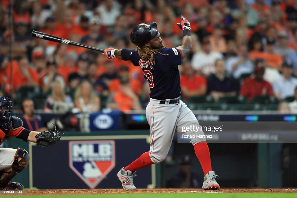 Hanley Ramirez #13 of the Boston Red Sox strikes out in the eighth inning against the Houston Astros during game two of the American League Division Series at Minute Maid Park on October 6, 2017 in Houston, Texas.