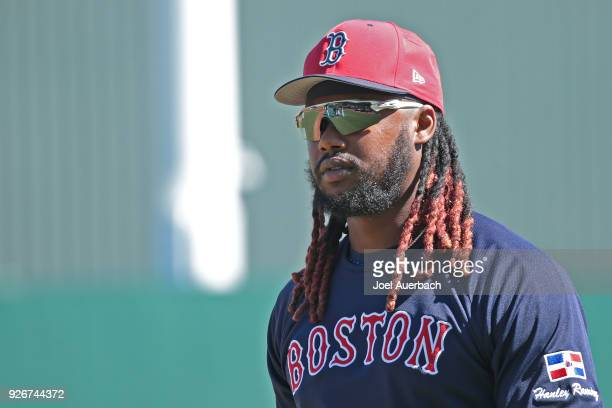 Hanley Ramirez of the Boston Red Sox waits his turn for batting practice prior to the spring training game against the New York Yankees at JetBlue...