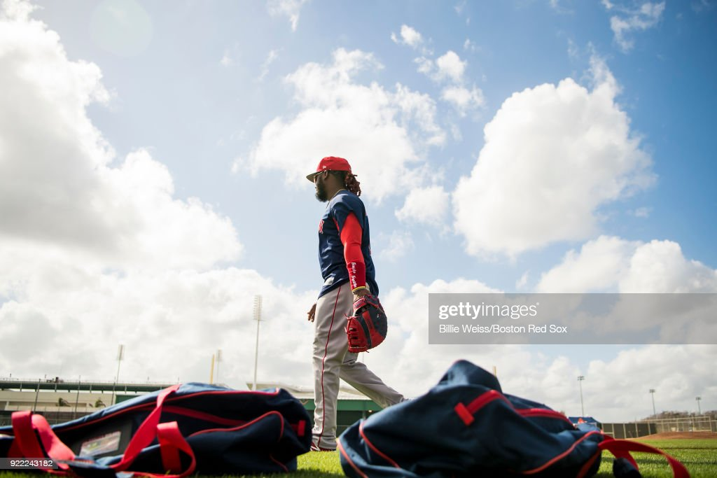 Hanley Ramirez #13 of the Boston Red Sox walks on the field during a team workout on February 21, 2018 at jetBlue Park at Fenway South in Fort Myers, Florida .