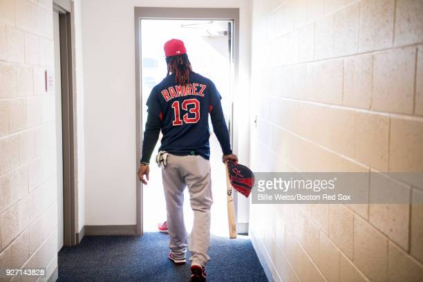 Hanley Ramirez of the Boston Red Sox walks onto the field during a team workout on March 4 2018 at Fenway South in Fort Myers Florida