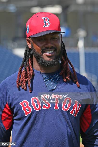 Hanley Ramirez of the Boston Red Sox warms up prior to the spring training game against the Houston Astros at The Ballpark of the Palm Beaches on...