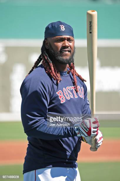 Hanley Ramirez of the Boston Red Sox warms up prior to the spring training game against the New York Yankees at JetBlue Park on March 3 2018 in Fort...