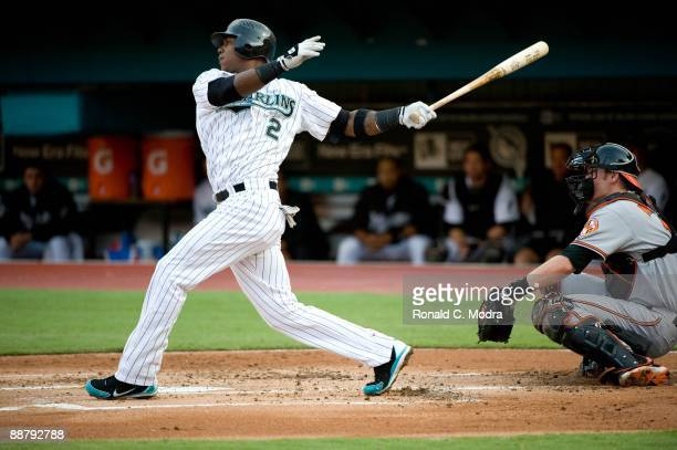 Hanley Ramirez of the Florida Marlins bats during a MLB game against the Baltimore Orioles at LandShark Stadium on June 24, 2009 in Miami, Florida.