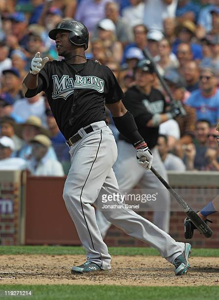 Hanley Ramirez of the Florida Marlins collects his 1000th career hit with a single in the 9th inning against the Chicago Cubs at Wrigley Field on...