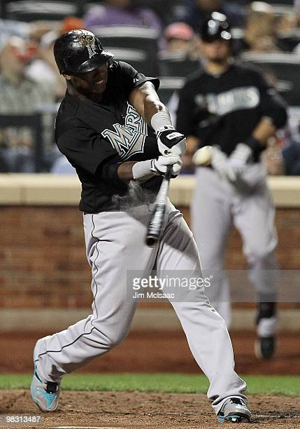 Hanley Ramirez of the Florida Marlins connects for a fifth inning home run against the New York Mets on April 7 2010 at Citi Field in the Flushing...