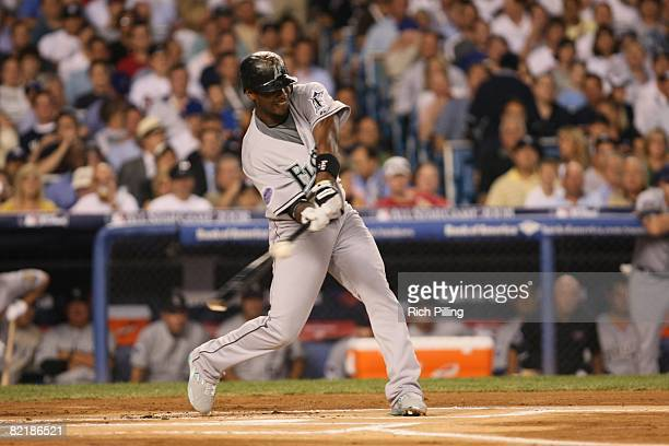 Hanley Ramirez of the Florida Marlins hits during the 79th MLB AllStar Game at the Yankee Stadium in the Bronx New York on July 15 2008 The American...