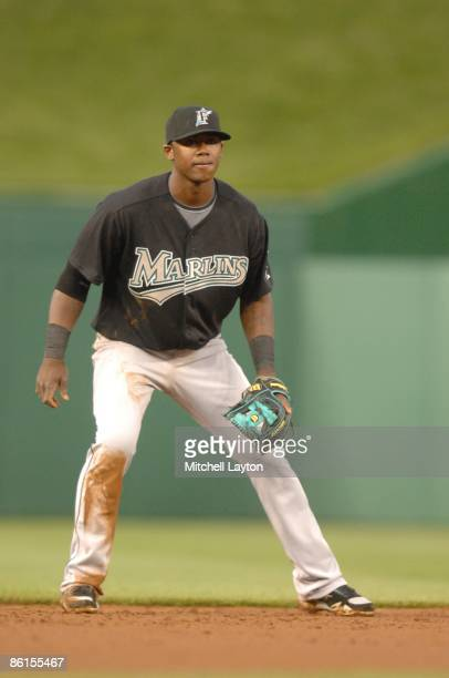 Hanley Ramirez of the Florida Marlins prepares to field a ground ball during a baseball game against the Washington Nationals on April 17 2009 at...