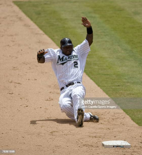 Hanley Ramirez of the Florida Marlins slides into second base during a MLB game against the San Francisco Giants on August 18 2007 in Miami Florida