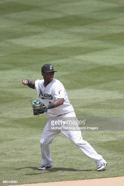 Hanley Ramirez of the Florida Marlins throws to first base during a game against the Los Angeles Dodgers at LandShark Stadium on May 17 2009 in Miami...