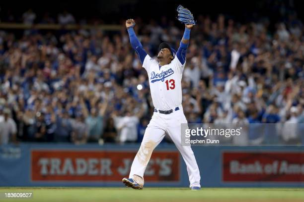 Hanley Ramirez of the Los Angeles Dodgers celebrates as the Dodgers defeat the Atlanta Braves 43 in Game Four of the National League Division Series...
