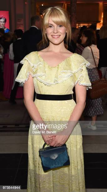 Hanna Arterton attends a private view of 'Frida Kahlo Making Her Self Up' at The VA on June 13 2018 in London England