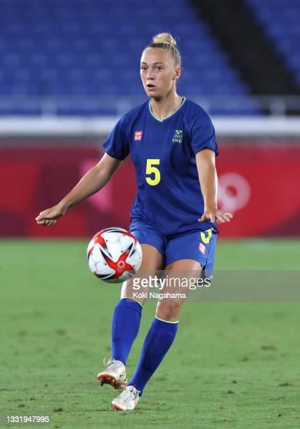 Hanna Bennison of Team Sweden makes a pass during the Women's Semi-Final match between Australia and Sweden on day ten of the Tokyo 2020 Olympic...