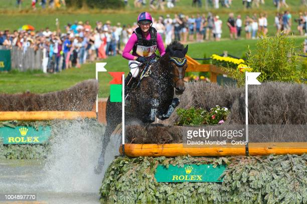 Hanna Berg of Sweden riding Quite Survivor during the obstacle in the water of the Cross Country test DHLPrize in the park of the CHIO of Aachen on...