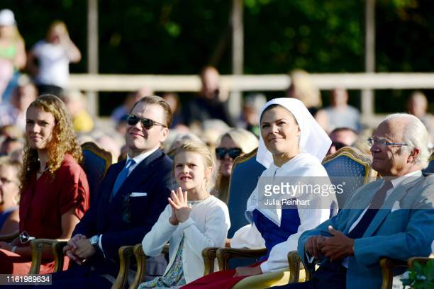 Hanna Öberg, Prince Daniel of Sweden, Princess Estelle of Sweden, Crown Princess Victoria of Sweden and King Carl Gustaf of Sweden are seen on the...