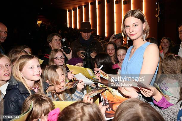 Hanna Binke and her fans during the German premiere of the film 'Ostwind 2' on May 3 2015 in Munich Germany