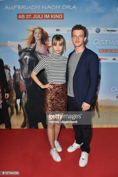 Hanna Binke and Jannis Niewoehner during the 'Ostwind Aufbruch nach Ora' premiere in Munich at Mathaeser Filmpalast on July 16 2017 in Munich Germany