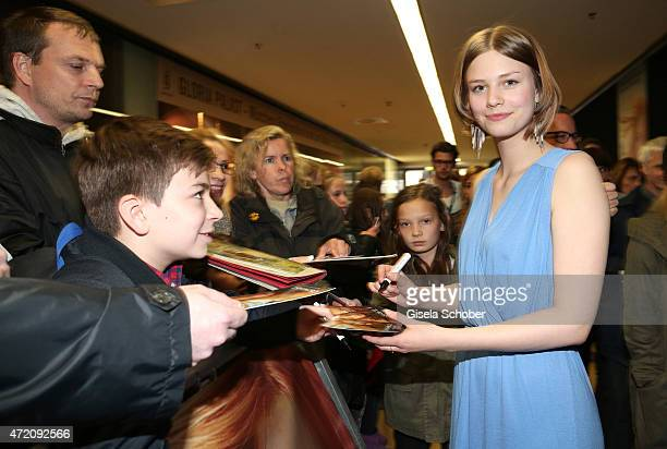 Hanna Binke with fans during the German premiere of the film 'Ostwind 2' on May 3 2015 in Munich Germany