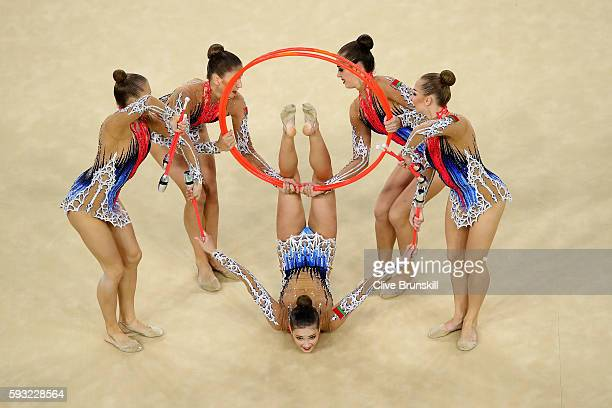 Hanna Dudzenkova Maria Kadobina Maryia Katsiak Valeriya Pischelina and Arina Tsitsilina of Belarus compete during the Group AllAround Final on Day 16...