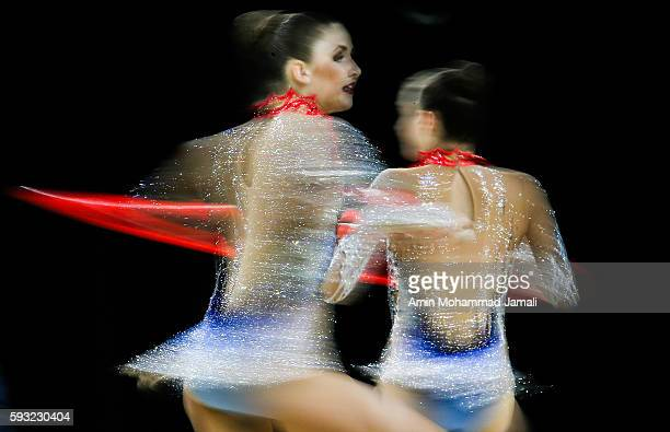 Hanna Dudzenkova Maria Kadobina Maryia Katsiak Valeriya Pischelina and Arina Tsitsilina of Belarus during on Day 16 of the Rio 2016 Olympic Games at...