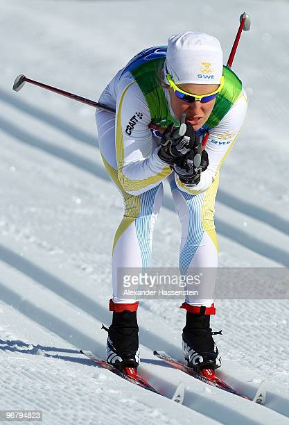 Hanna Falk of Sweden competes during the Women's Individual Sprint C Qualification on day 6 of the 2010 Vancouver Winter Olympics at Whistler Olympic...