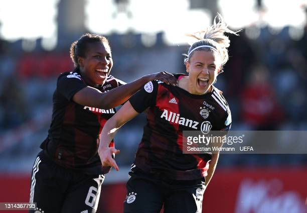 Hanna Glas of FC Bayern Munich celebrates with Lineth Beerensteyn after scoring their side's second goal during the First Leg of the UEFA Women's...