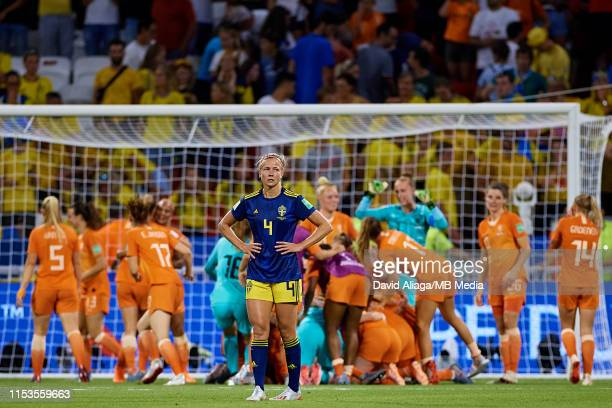 Hanna Glas of Sweden reacts after the defeat during the 2019 FIFA Women's World Cup France Semi Final match between Netherlands and Sweden at Stade...