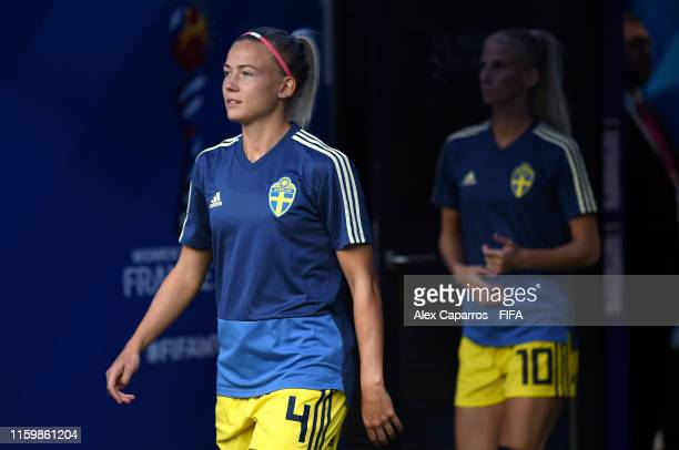 Hanna Glas of Sweden walks out for the warm up prior to the 2019 FIFA Women's World Cup France Semi Final match between Netherlands and Sweden at...