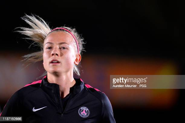 Hanna Glas warms up during a Paris SaintGermain Women's training session before the UEFA Women's Champions League quarter final first leg match...