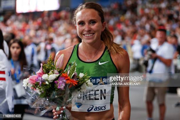 US Hanna Green celebrates after winning the Women's 800m during the IAAF Diamond League competition on August 24 2019 at the Charlety stadium in Paris