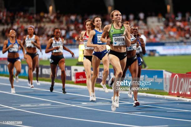 US Hanna Green crosses the finish line and wins the Women's 800m during the IAAF Diamond League competition on August 24 2019 at the Charlety stadium...